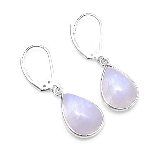 Silver Palace Sterling Silver Natural Rainbow Moonstone Drop Dangle Earrings for -