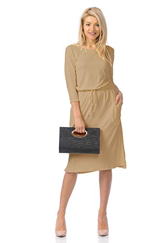 iconic luxe Women's Relaxed Midi Dress with Elastic Waist Medium Stone