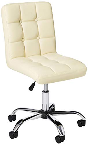 Porthos Home EFC001A CRM Parker Adjustable Chair with 360° Swivel, Roller Caster Wheels and Button Tufted PU Leather Upholstery, One Size, Cream