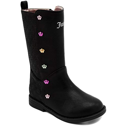 Juicy Pink Leather Couture (Juicy Couture Kids JC Lil Pasadena Girls Black/Multi Low-Heel Tall Boot 5 Toddler)