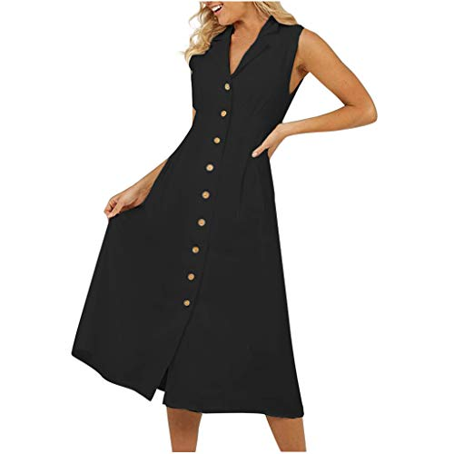 Womens V Neck Dress Sleeveless Button Down Cotton Linen Summer Casual Swing Maxi Dresses Black