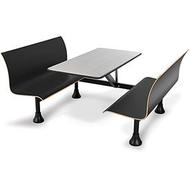 (OFM 1007W-BLK Retro Bench with Stainless Steel Table Top and Wall Frame)
