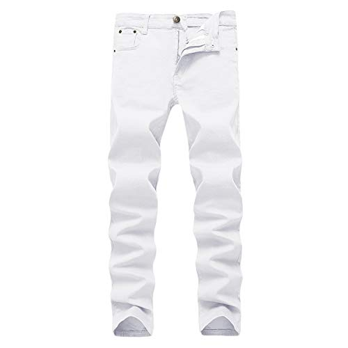 WULFUL Men's Skinny Slim Fit Stretch Straight Leg Jeans/White/36Wx32L