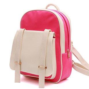 Borsa donna mini doppio zaino borsa a tracolla Corea edition PU Academy vento studenti minimalista nello zaino, Mei rosso