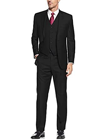 "Salvatore Exte Mens Suit Vested Three Piece Blazer Jacket Dress Vest Plus Pants (36 Short US / 46S EU/W 30"", Black)"