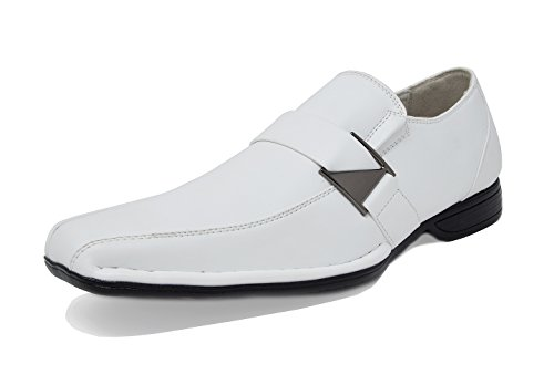 (Bruno Marc Men's Giorgio-3 White Leather Lined Dress Loafers Shoes - 6.5 M)
