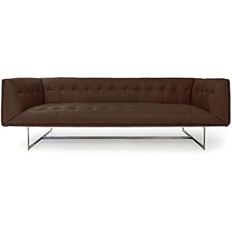 Kardiel Edward Mid Century Modern Classic Sofa Coco Brown Premium Leather Stainless Steel