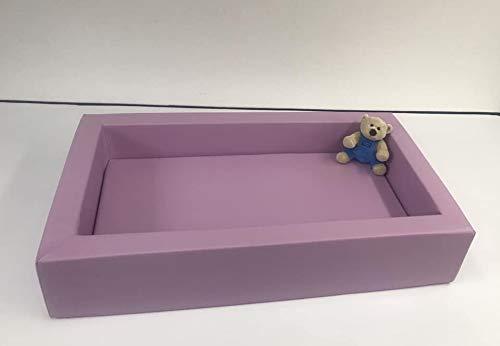 mit Matratzte, Weichschaumbett f/ür Krippen und Kleinkinder mit Bezug aus Kunstleder flieder und rutschfestem Boden 1