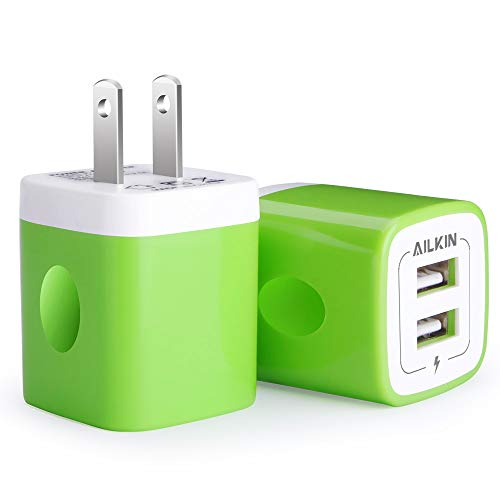 USB Wall Charger, [2-Pack] 5V/2.1AMP Ailkin 2-Port USB Wall Charger Home Travel Plug Power Adapter Charging Replacement for iPhone X/8/7s/7 Plus/6s, Samsung Galaxy S7 S6, HTC, LG, Table, Motorola,etc.