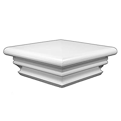 Durable White PVC Vinyl Federation Post Cap For A True 4 Inch X 4 Inch Post | Single Pack | AWCP-FED-4