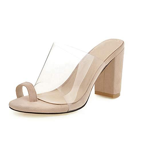 JOYBI Women's Block Heel Slide Sandal Lucite Clear Ring Toe Anti-Slip High Chunky Heels Sandal Beige