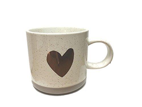 2017 Holiday Collection Ceramic Mug 12oz- Speckled Rose Gold Heart (Mug Rose Coffee Ceramic)
