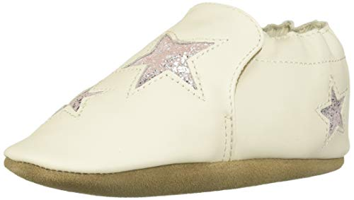 Robeez Girls' Soft Soles Crib Shoe, Ivory/Pink, 0-6 -