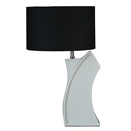 Funky table lamp amazon cortesi home ch tl303250 miami table lamp with crystal accents and black shade 130 x 150 x 220 white aloadofball Image collections