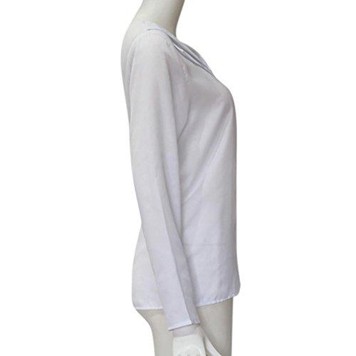 Grand Col Longues T Taille Blouse Unie Automne CIELLTE Chemisier Blouse Manches Couleur Mousseline Sleeve Blanc V Femme Shirts Tops Printemps wRq46Bq