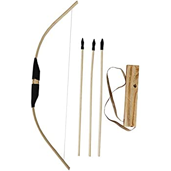 45a5e992a5e MISSSIXTY Toy Bamboo   Wooden Bow and Arrow Set with Quiver and 3 Rubber  Tipped Arrows - for Kids Children Youth Indoor and Outdoor Play