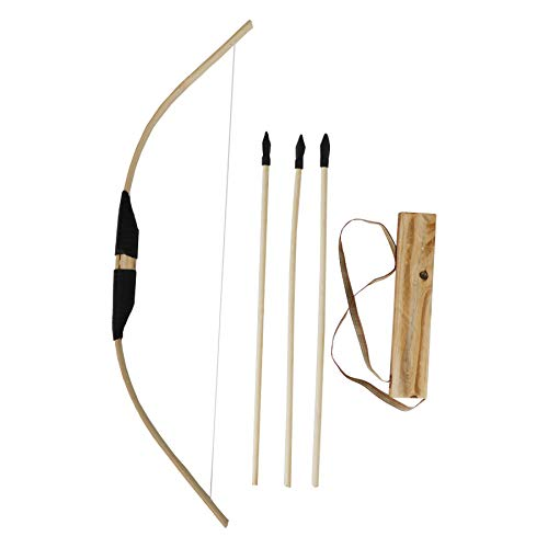 MISSSIXTY Toy Bamboo & Wooden Bow and Arrow Set with Quiver and 3 Rubber Tipped Arrows - for Kids Children Youth Indoor and Outdoor Play -