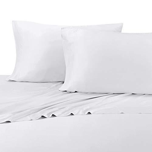[해외]화이트 색상 편안한 부드러운 킹 대나무 시트; 100% 비스코 스 온도 조절 패브릭 / Silky Soft King Bamboo Sheets in Relaxing White Color; 100% Viscose Temperature Regulated Fabric