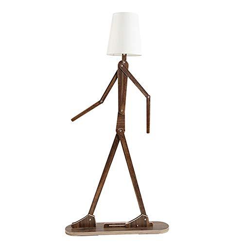 Floor Lamp, LED Living Room Vertical Lighting Sofa Study Aisle Character Modeling Ornaments Floor Lamp Adjustable Swing Arm Light - Teak Living Room Sofa
