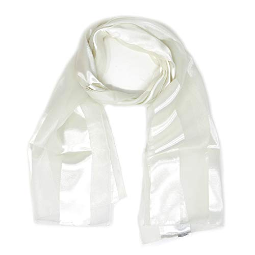 White Silk Long Scarf - Scarfs for women | lightweight soft silky scarves | 60