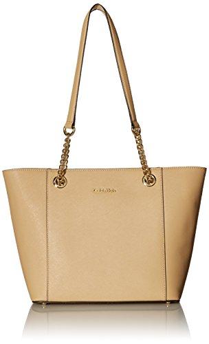 Calvin Klein Hayden Saffiano Leather East/West Top Zip Chain Tote, Nude/Gold