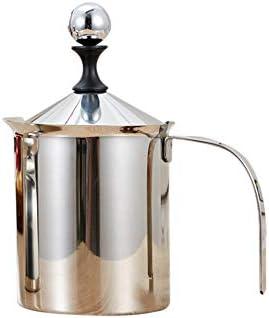 MHUI-ステンレス鋼ハンドポンプミルク泡立て器ダブルフィルターミルク泡立て器ファンシーミルクコーヒーカプチーノミルク泡立て器ミルク泡立て器