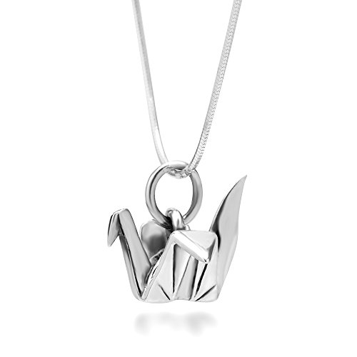 925 Sterling Silver Origami Bird Paper Crane Flapping Bird Pendant Necklace, 18 inches ()