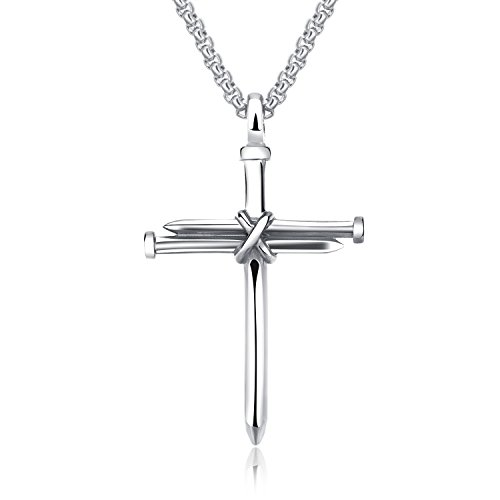 Lary Jewelry Nail Cross Stainless Steel Pendants Christian Necklace 21.65