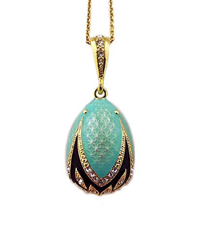 Russian Turquoise Color Egg Pendant Reversible Silver Gold Tone 1 1/2 Inch