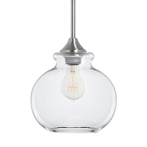 Ariella Casella Glass Pendant Light | Brushed Nickel Hanging Light Fixture LL-P321