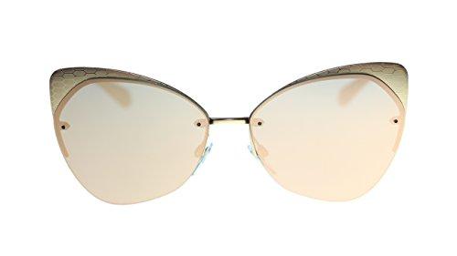 BVLGARI Round Women's Sunglasses BV6096 20134Z Matte Pink Gold/Grey Mirror Rose Gold Lens - Glasses Bvlgari