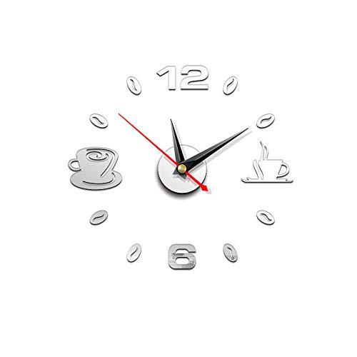 cherrycherish - Reloj de Pared con Espejo 3D sin Marco, calcomanía acrílico para decoración del hogar, Oficina, Sala de...
