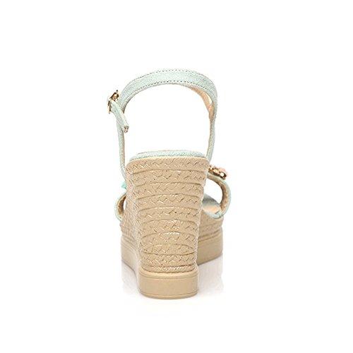 Verde Hebilla Sandalias HY Verde Slope Heels 39 Bohemia para High Zapatos Summer Color Toe para mujeres mujeres Style Ladies Tamaño Open FF7nTRrq