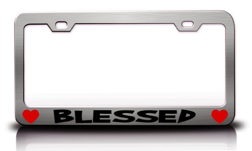 BLESSED Religious Christian Jesus Steel License Plate Frame Tag Holder Chrome