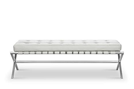 Fabulous Amazon Com White Leather Bench Bella Modern With Faux Machost Co Dining Chair Design Ideas Machostcouk