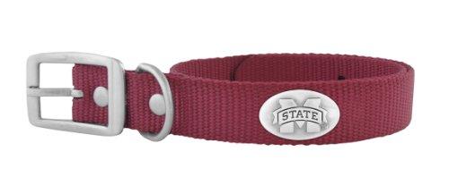 Zep-Pro Maroon Nylon Concho Pet Collar, Mississippi State Bulldogs, Large