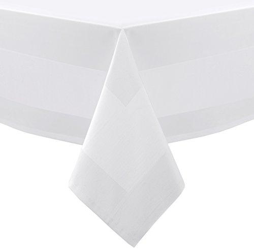 Gastronomie Hotel Tischdecke Servietten, Vollzwirn Baumwolle Atlaskante, Größe wählbar 140x220 cm Weiß