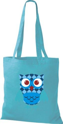 Stoffbeutel Bunte Eule niedliche Tragetasche mit Punkte Karos streifen Owl Retro diverse Farbe hellblau BAk7R
