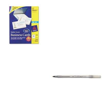 KITAVE8376BICGSM11BK - Value Kit - Avery Two-Side Printable Business Cards (AVE8376) and BIC Round Stic Ballpoint Stick Pen (BICGSM11BK) by Avery