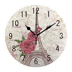 Vintage Paris Eiffel Tower Rose Flower Round Wood Wall Clock for Home Decor Living Room Kitchen Bedroom Office School