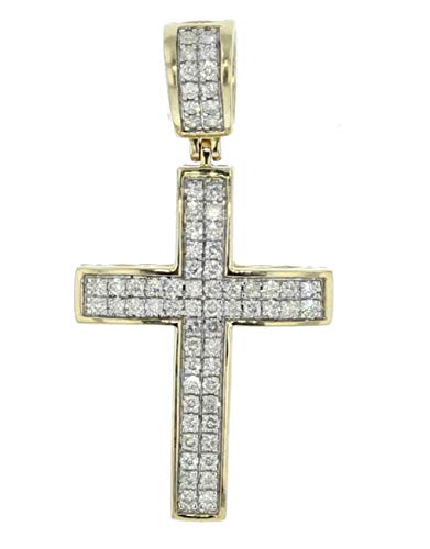 Midwest Jewellery 10K Gold Mens Diamond Cross Pendant 45mm Tall Round Diamonds 1.00ctw