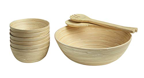(Abington Lane Bamboo Salad Bowl 6 Bowls with Salad Tongs - Sleek and Simple Fruit Serving Bowl Dough Cooking Preparation Gorgeous Looks Combined with Functionality (Bamboo))