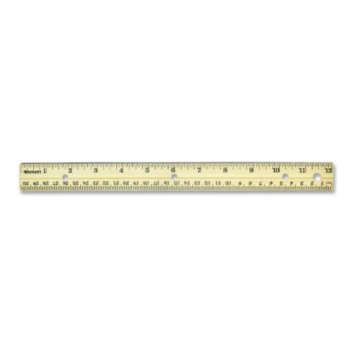 Westcott Hole Punched Wood Ruler English and Metric With Metal Edge, 12 Inches
