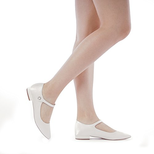 White Stacked Fashion PAIR SILKY Shoes Women's Flats Ankle Sole DREAM Straps Low IdPYqxww1