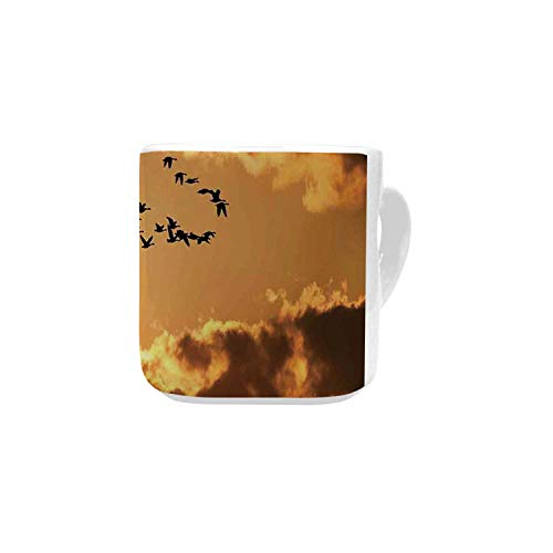 Birds White Heart Shaped Mug,A Flock of Migratory Canadian Geese Flying at Sunset Cloudy Sky Monochromic Art for Home,2.56