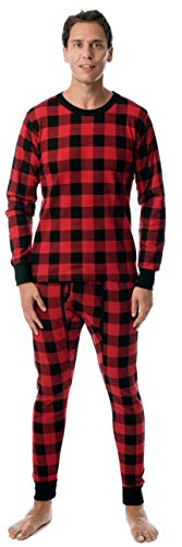 At The Buzzer Mens Printed Thermal Set 95966, Buffalo Plaid Red Black, Large (Apparel Black John Adult Tee)