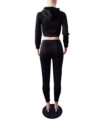 Crop Pice Plaine Couleur Casual Top Taille M Tenues Femmes Ensemble Noir Pantalon Jumpsuit Stripe Shorts 2 XIAOXAIO ycfOHTz
