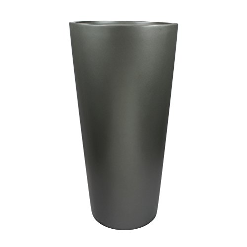 Dublin Tall Round Cylinder Fiberglass Planter (D:15'' x H:30'', Metallic Grey) by The Fiberglass Depot