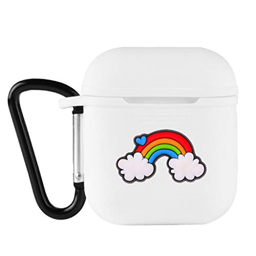 Mukoo 1PC Cartoon Rainbow Soft Silicone Shockproof Cover with Carabiner for Apple AirPods Earphone Cute Protector Case