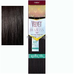 (Outre Velvet Brazilian 100% Remi Human Hair Weave NATURAL YAKI (14 Inch) Color = 1B(Off Black):)